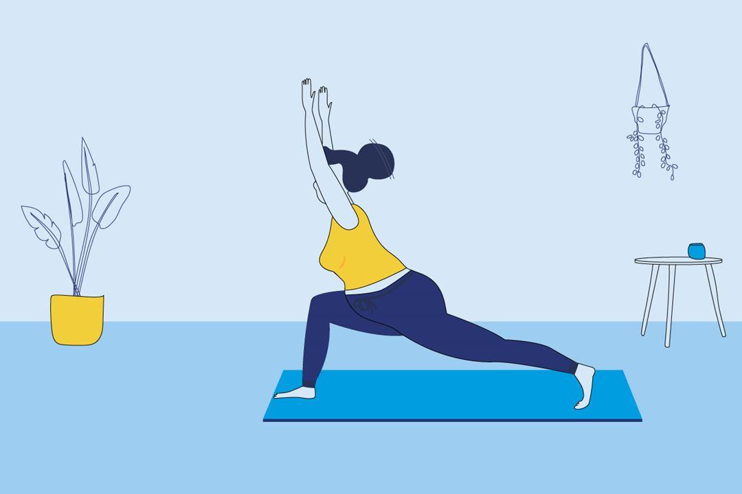 Woman doing prenatal yoga